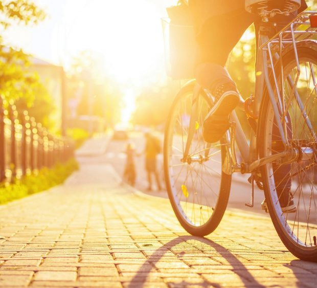 Bike,At,The,Summer,Sunset,On,The,Tiled,Road,In